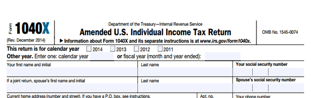 IRS amended tax return